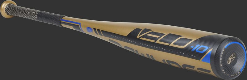 3/4 angle view of a UT9V10 Rawlings USSSA Velo baseball bat with a gold barrel and black end cap