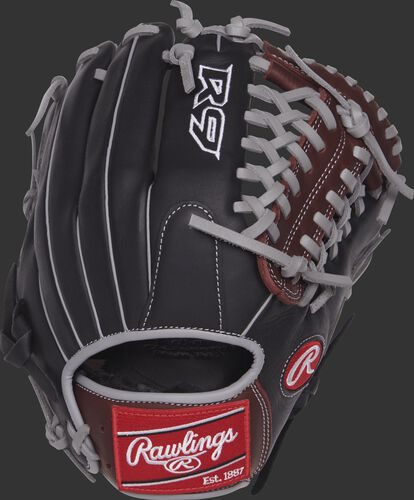 R9205-4BSG 11.75-inch R9 Series mod trap glove with a black back and grey binding and welting