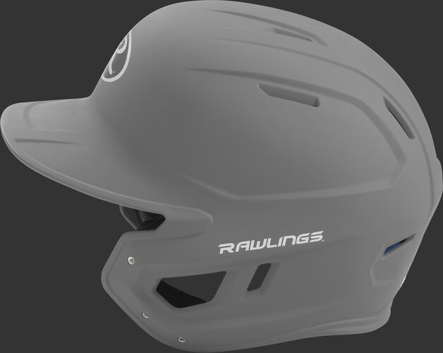 MACH Rawlings batting helmet with a one-tone matte silver shell