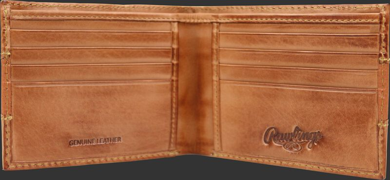Inside of a tan RW80004-001 Rawlings bi-fold wallet with 8 credit card slots