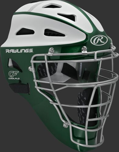 Front right of a dark green/white SBCHVEL Rawlings Velo softball youth catcher's helmet