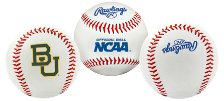 Three NCAA Baylor Bears baseballs with a team logo, NCAA and Rawlings logo