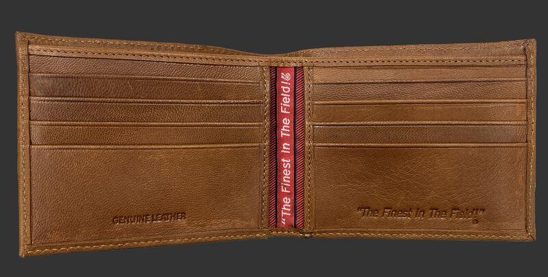 Inside of a tan Rawlings debossed stich bi-fold wallet with multiple credit card slots - SKU: RPW007-204