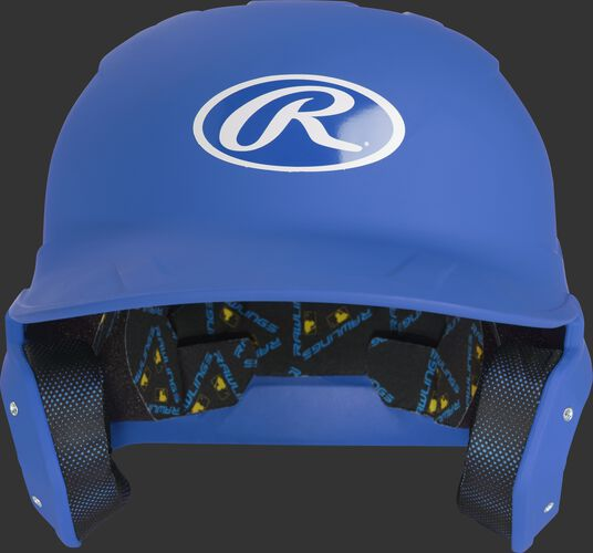 MCH07A Mach baseball batting helmet with a matte royal shell and Oval R logo on the front