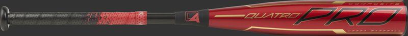 Barrel of a red UTZQ10 2020 Quatro Pro USSSA bat with black/gold accents
