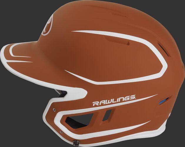 MACH Junior Rawlings batting helmet with a two-tone matte orange/white shell