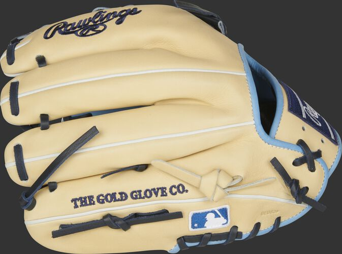 Fingers of a camel 2021 HOH 11.5-Inch infield glove with the MLB logo on the pinkie - SKU: PRO204-20CB