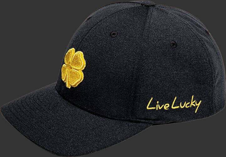 """Left angle view of a heather black Rawlings Black Clover Gold Glove fitted hat with """"Live Lucky"""" in gold - SKU: BCR1GG0571"""