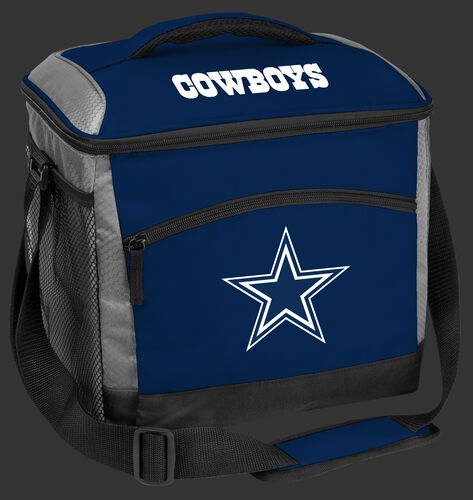 A blue Dallas Cowboys 24 can soft sided cooler with screen printed team logos - SKU: 10211065111