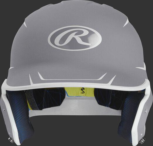 Front of a matte silver/white MACH Junior size batting helmet