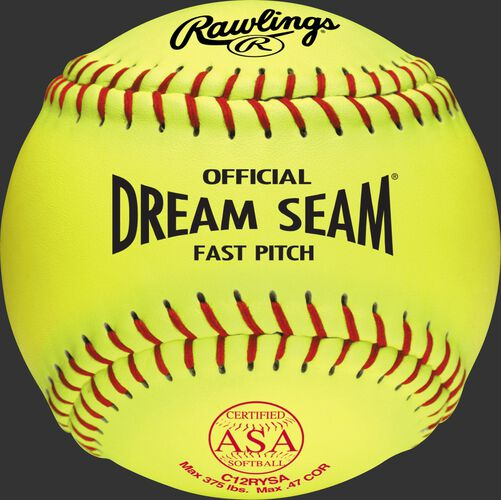 "A yellow C12RYSA ASA NFHS Official 12"" Dream Seam softball with red stitching"