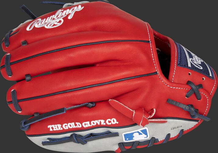 Scarlet back of a Los Angeles Angels Heart of the Hide infield glove with the MLB logo on the pinky - SKU: RSGPRO204-2LAA