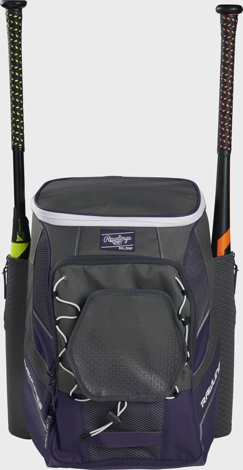 Front of a purple Rawlings Impulse bag with a purple Rawlings patch and two bats in the sides - SKU: IMPLSE-PU