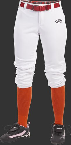 Front of Rawlings White Girls' Low-Rise Softball Pant - SKU #YLNCHG