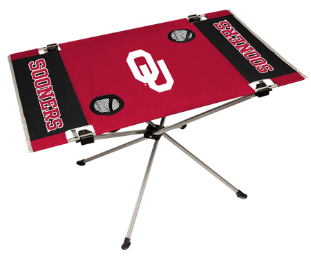 NCAA Oklahoma Sooners Endzone table featuring team logos, team colors and two cup holders