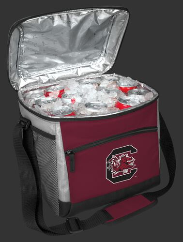 An open South Carolina Gamecocks 24 can cooler filled with ice and drinks - SKU: 10223098111