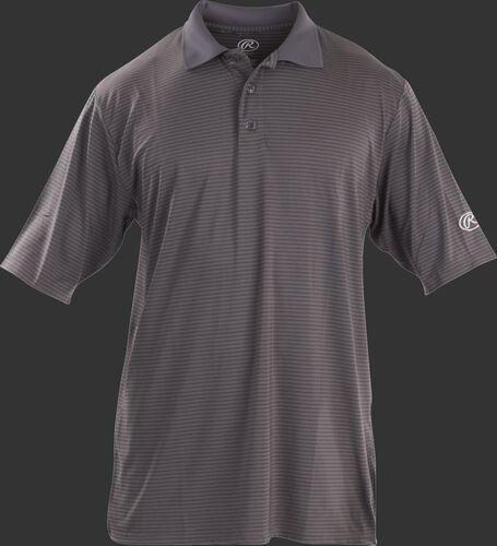 Front of Rawlings Adult Gray Short Sleeve Polo Shirt - SKU #GGPOLO