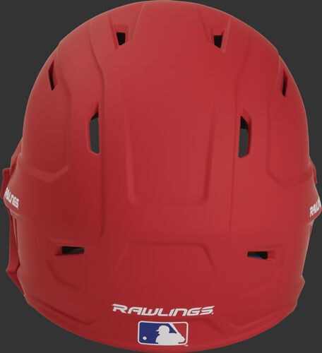 Back of a MACHEXTR high performance junior MACH helmet with a matte scarlet shell and Official Batting Helmet of MLB logo