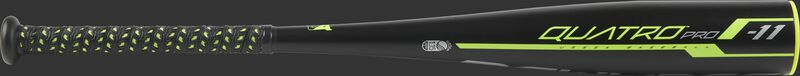 UT9Q11 USSSA Quatro Pro machine pitch bat with a black barrel and black grip