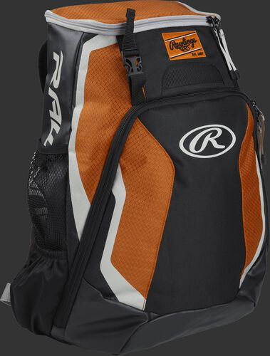Right side of a black/orange R500 Rawlings Players equipment backpack with white trim