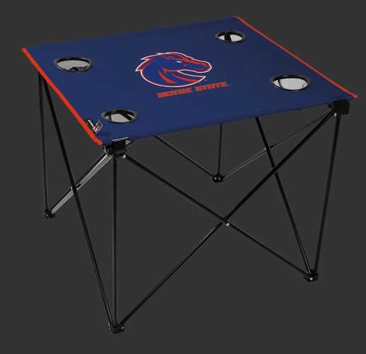A blue NCAA Boise State Broncos deluxe tailgate table with four cup holders and team logo printed in the middle SKU #00713125111