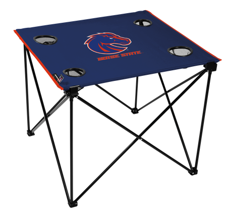A blue NCAA Boise State Broncos deluxe tailgate table with four cup holders and team logo printed in the middle
