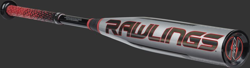 Angled view of a silver/black/red -12 Quatro Pro bat with a black Rawlings logo on the barrel - SKU: US1Q12