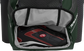 A dark green Rawlings baseball backpack with a cleat in the bottom cleat storage compartment - SKU: IMPLSE-DG image number null