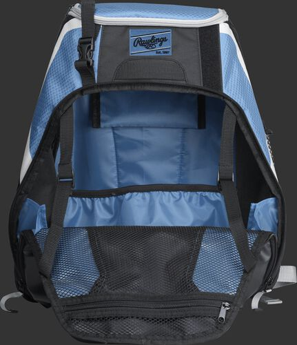 An open R500 Rawlings Players equipment backpack with columbia blue interior
