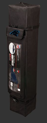 Black carry case of a 9x9 Carolina Panthers canopy with a team logo on the side compartment - SKU: 03231090112