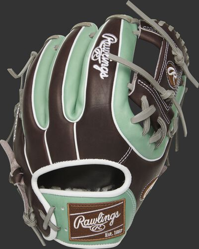 PROS314-2OMC 11.5-inch Pro Preferred I web glove with a mint/mocha back and white double-welting