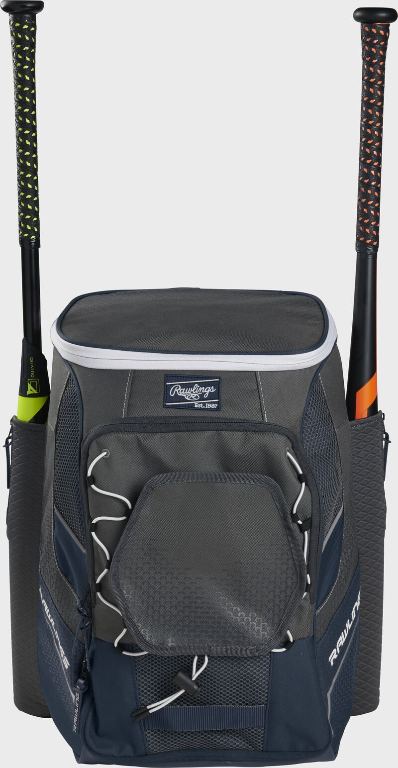 Front of a navy Rawlings Impulse bag with a navy Rawlings patch and two bats in the sides - SKU: IMPLSE-N