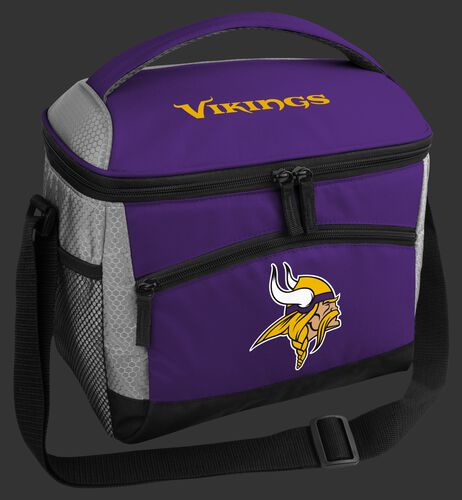 A purple Minnesota Vikings 12 can soft sided cooler with a team logo on the front - SKU: 10111075111