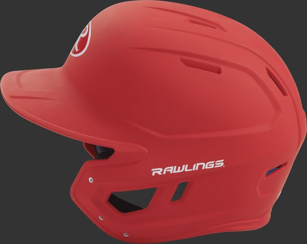 MACH junior Rawlings batting helmet with a one-tone matte scarlet shell