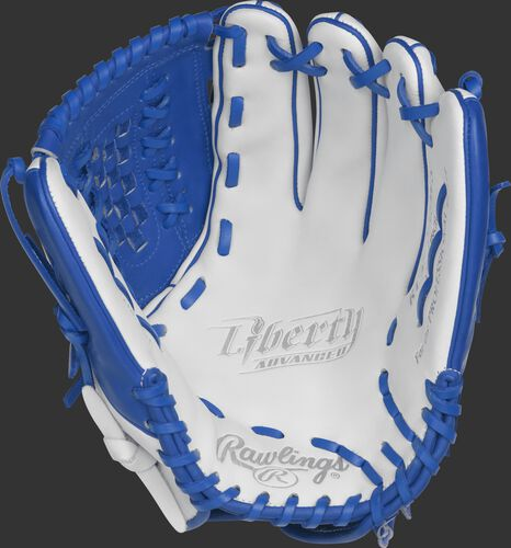 RLA125-18WR Rawlings 12.5-inch outfield/pitcher's softball glove with a white palm and royal blue laces