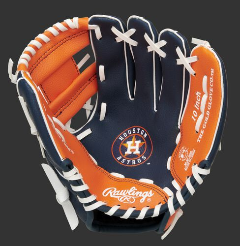 A navy/orange Rawlings Houston Astros youth glove with the Astros logo stamped in the palm - SKU: 22000002111