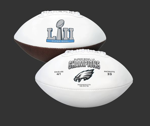 White Super Bowl 52 Champions Philadelphia Eagles Youth Size Football With Super Bowl Logo SKU #06571239127