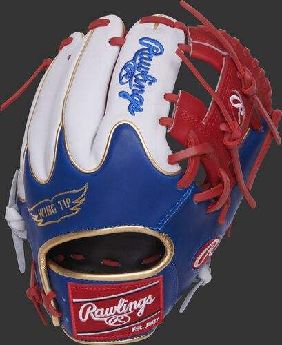 PRO204W-2SRW 11.5-Inch Heart of the Hide MLB exclusive infield glove with a royal Wing Tip back and white fingers