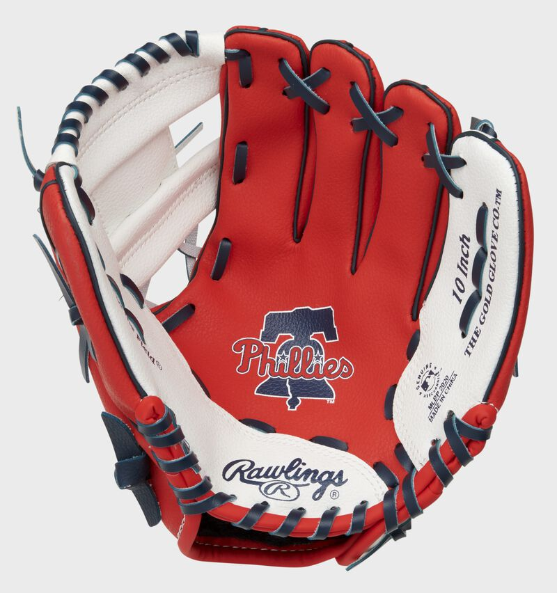 A red/white Rawlings Philadelphia Phillies youth glove with the Phillies logo stamped in the palm - SKU: 22000020111