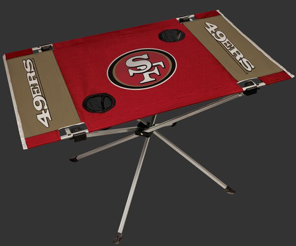 Rawlings Scarlet and Gold NFL San Francisco 49ers Endzone Table With Two Cup Holders, Team Logo, and Team Name SKU #03391084111