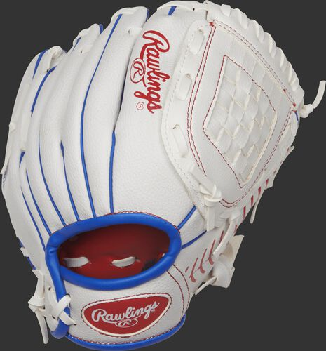 PL90SSB 9-inch Players Series glove with a white back and royal blue accents