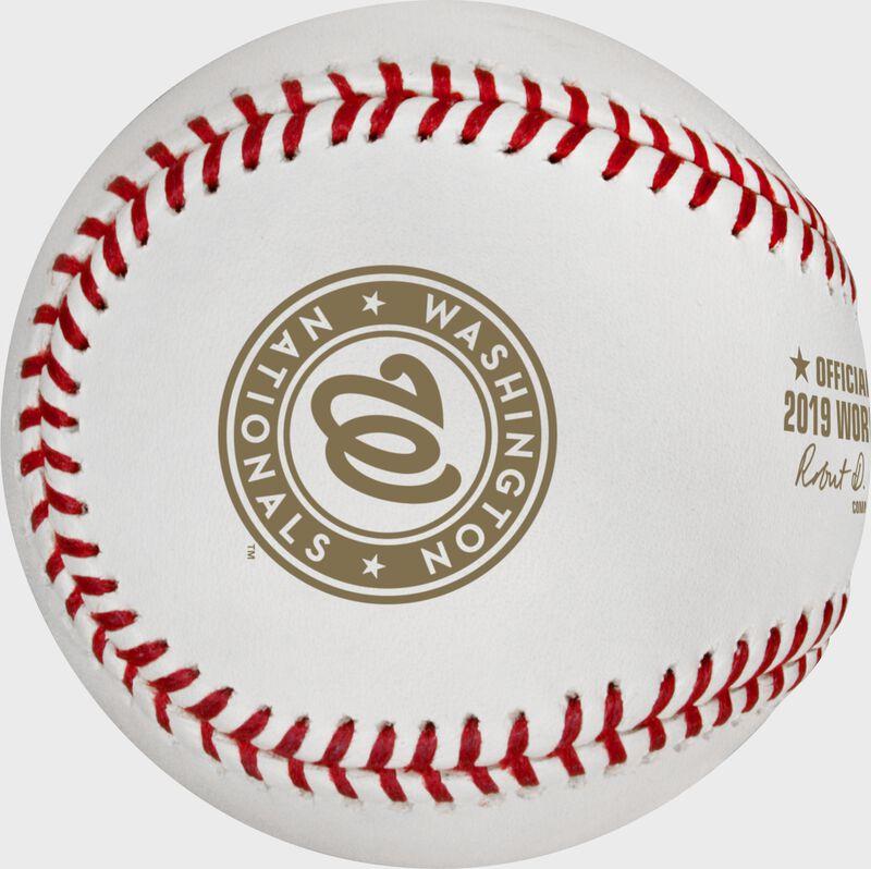 The Washington Nationals logo on the WSBB19CHMP Washington Nationals World Series Champions ball