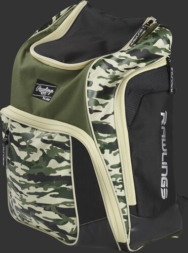 Front angle view of a camo Legion equipment backpack - LEGION-CAMO