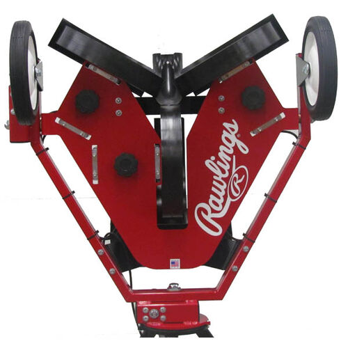 Front of Rawlings Red Spin Ball Pro 3 Wheel Softball Pitching Machine With Brand Name SKU #RPM3SB