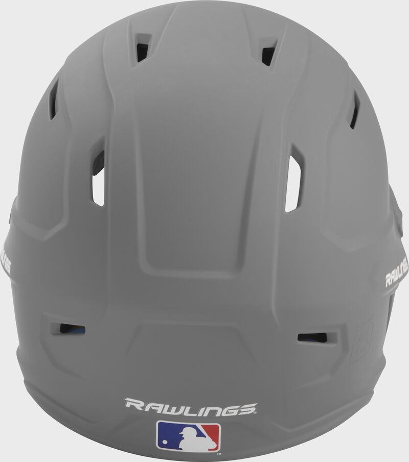 Back of a silver MACH high performance helmet with the Official Batting Helmet of MLB logo