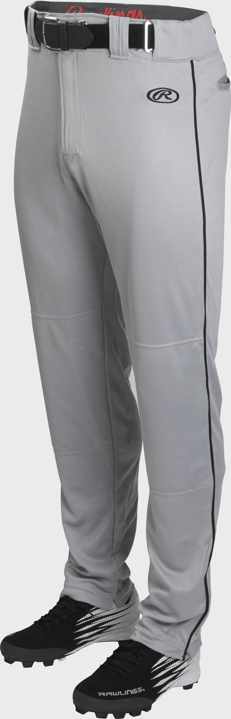 Front of Rawlings Blue Gray/Black Adult Launch Piped Semi-Relaxed Baseball Pant - SKU #LNCHSRP-BG/B