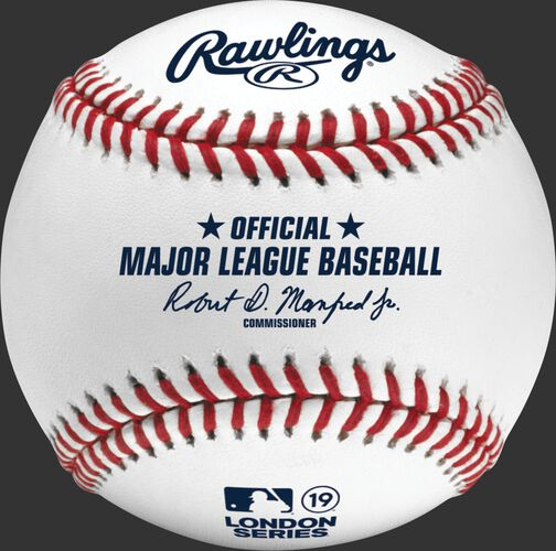 A ROMLBLS19 MLB 2019 London Series baseball with the Official Ball stamp and league commissioner's signature
