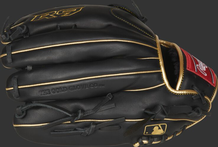 Black fingerbacks of a 12.75-inch R9 series outfield glove with the MLB logo on the pinkie - SKU: R93029-6BG
