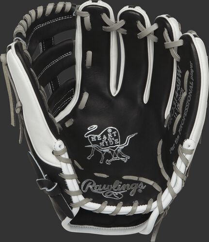 PRO314-6BW 11.5-inch Heart of the Hide infield glove with a black palm and grey laces