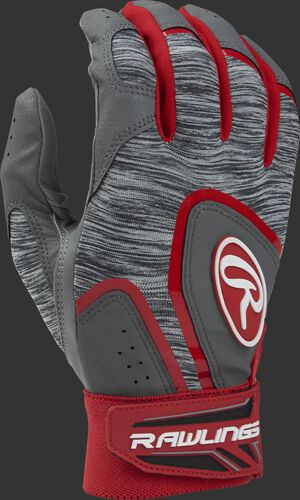 Heather grey 5150GBGY youth 5150 batting gloves with scarlet trim and wrist strap